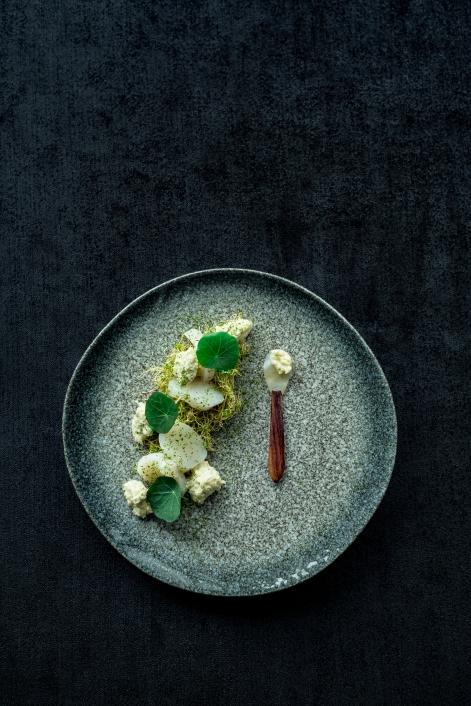Kamskjell, ertespirepuré, friterte alfalfaspirer